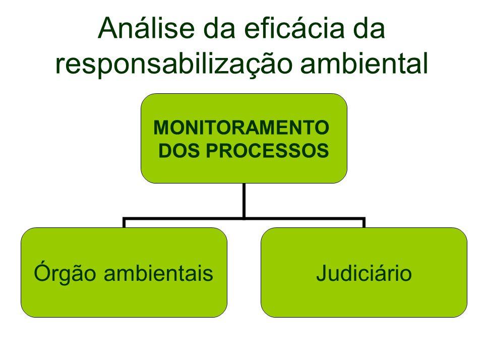 Análise da eficácia da responsabilização ambiental MONITORAMENTO DOS PROCESSOS Órgão ambientaisJudiciário