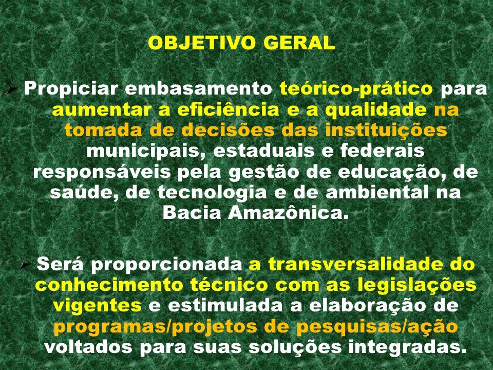 Propiciar embasamento teórico-prático para aumentar a eficiência e a qualidade na tomada de decisões das instituições municipais, estaduais e federais