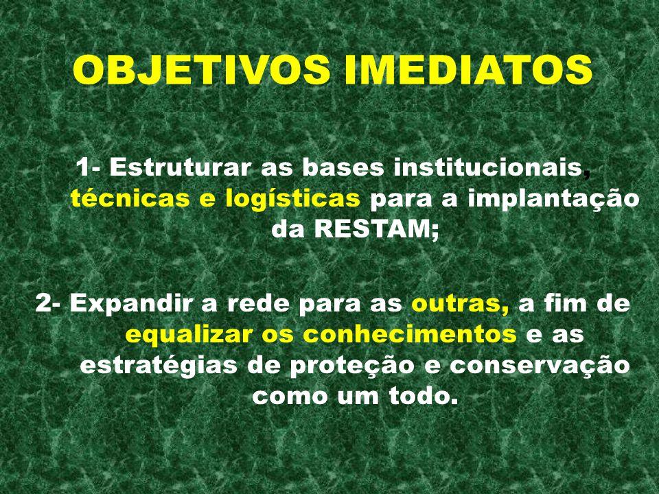 1- Estruturar as bases institucionais, técnicas e logísticas para a implantação da RESTAM; 2- Expandir a rede para as outras, a fim de equalizar os co