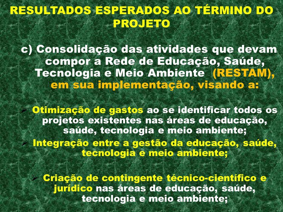 RESULTADOS ESPERADOS AO TÉRMINO DO PROJETO c) Consolidação das atividades que devam compor a Rede de Educação, Saúde, Tecnologia e Meio Ambiente (REST
