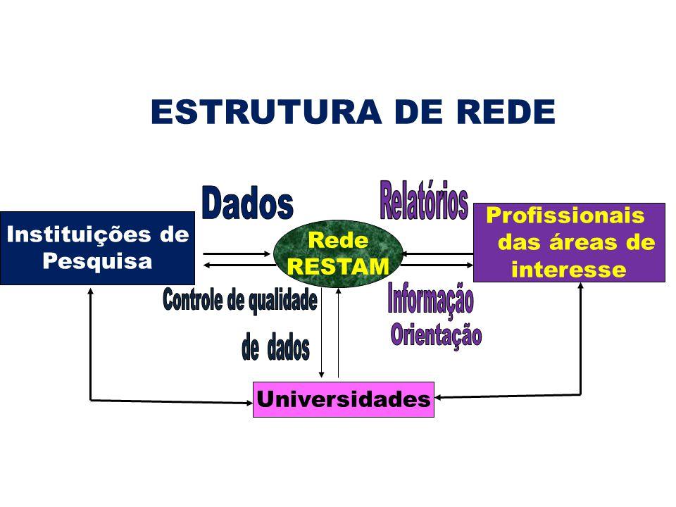 Instituições de Pesquisa Profissionais das áreas de interesse Universidades Rede RESTAM ESTRUTURA DE REDE
