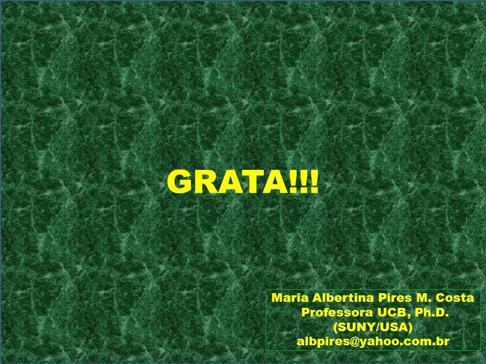 GRATA!!! Maria Albertina Pires M. Costa Professora UCB, Ph.D. (SUNY/USA) albpires@yahoo.com.br