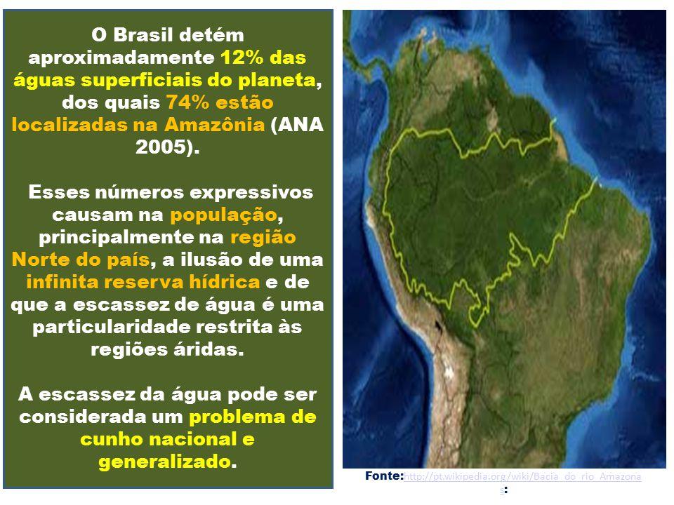 O Brasil detém aproximadamente 12% das águas superficiais do planeta, dos quais 74% estão localizadas na Amazônia (ANA 2005). Esses números expressivo