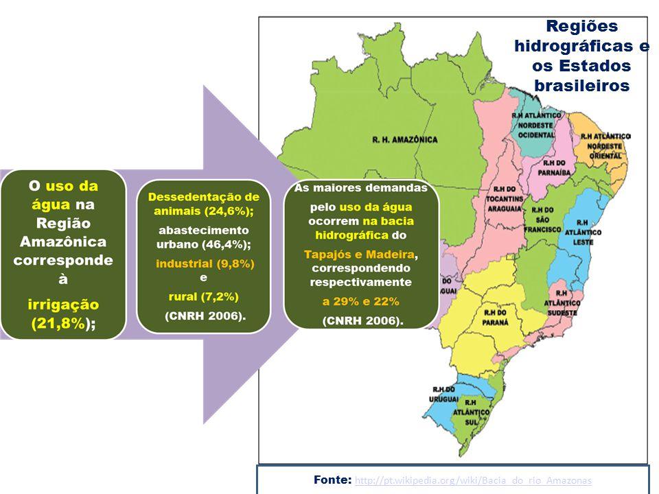 Fonte: http://pt.wikipedia.org/wiki/Bacia_do_rio_Amazonas http://pt.wikipedia.org/wiki/Bacia_do_rio_Amazonas Regiões hidrográficas e os Estados brasil