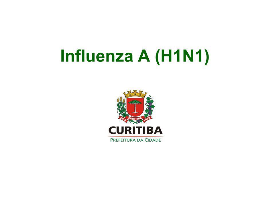 Influenza A (H1N1) v Situação atual (até 09/09/2009) SUSPEITOS NOTIFICADOS NO PARANÁ: 49.351 SUSPEITOS NOTIFICADOS EM CURITIBA: 8.101 RESIDENTES EM CURITIBA: 6.928