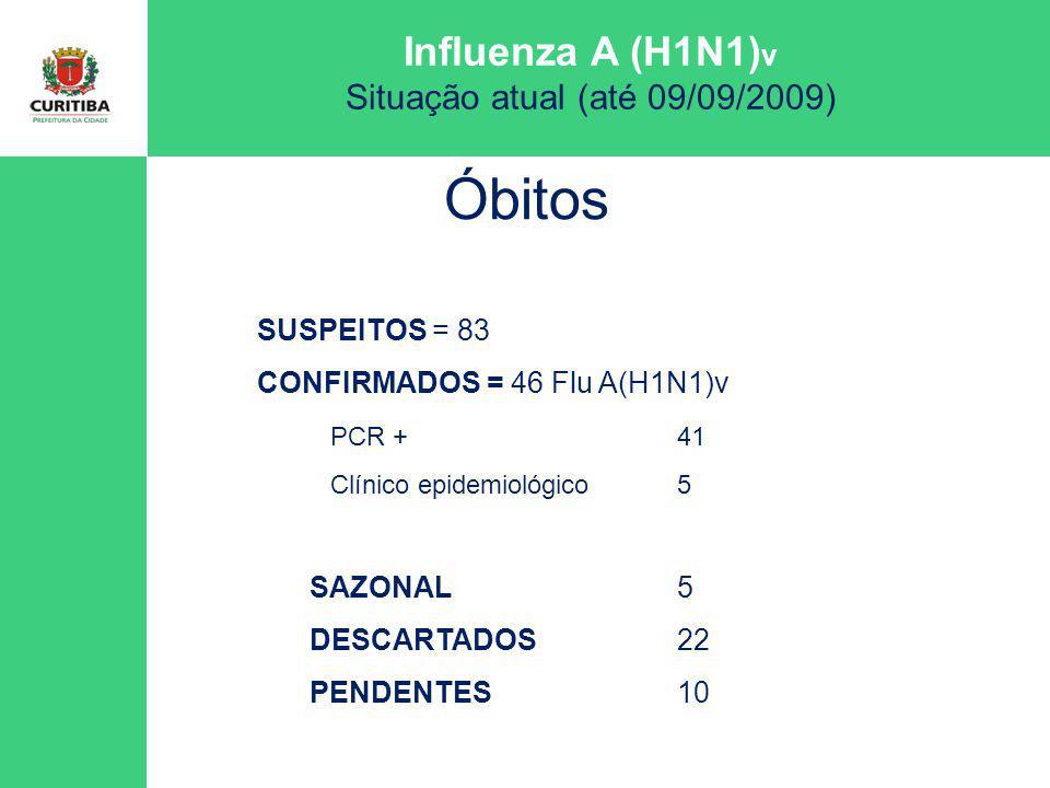 Influenza A (H1N1) v Situação atual (até 09/09/2009) Óbitos SUSPEITOS = 83 CONFIRMADOS = 46 Flu A(H1N1)v PCR +41 Clínico epidemiológico5 SAZONAL5 DESC