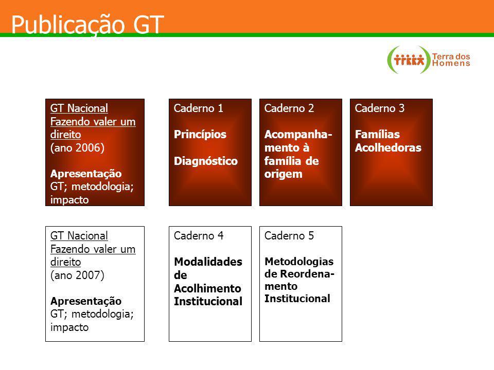 Publicação GT GT Nacional Fazendo valer um direito (ano 2006) Apresentação GT; metodologia; impacto Caderno 1 Princípios Diagnóstico Caderno 2 Acompan