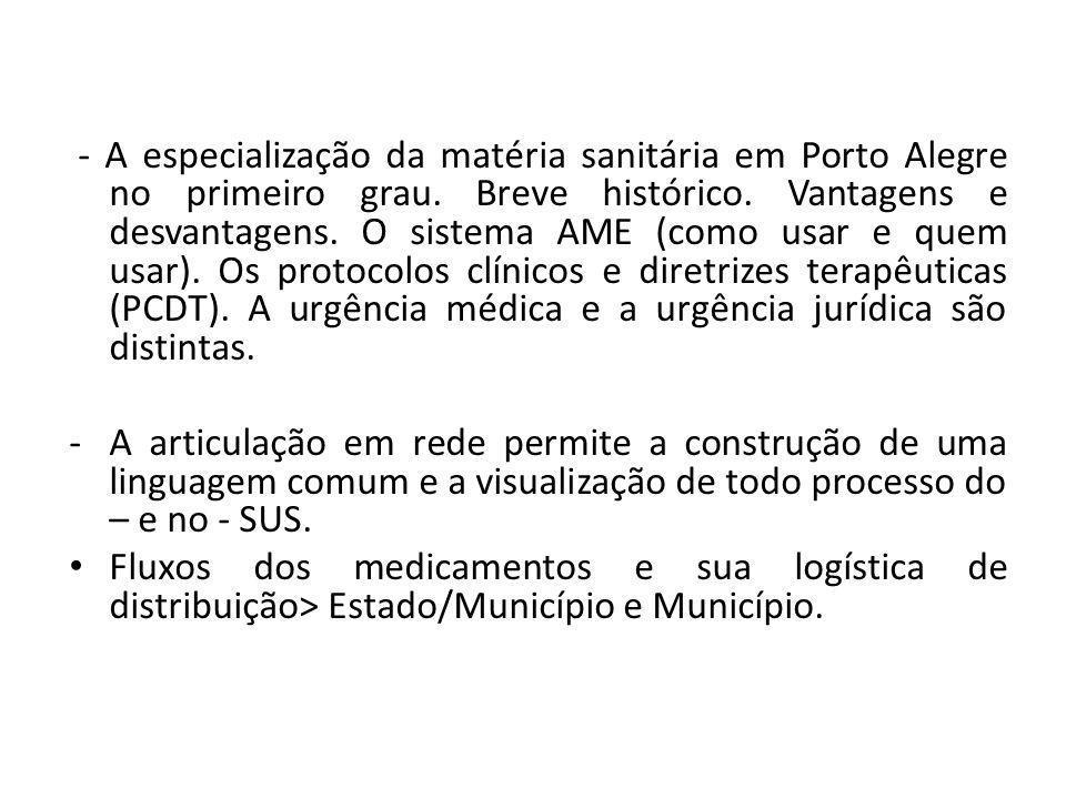 - A especialização da matéria sanitária em Porto Alegre no primeiro grau. Breve histórico. Vantagens e desvantagens. O sistema AME (como usar e quem u