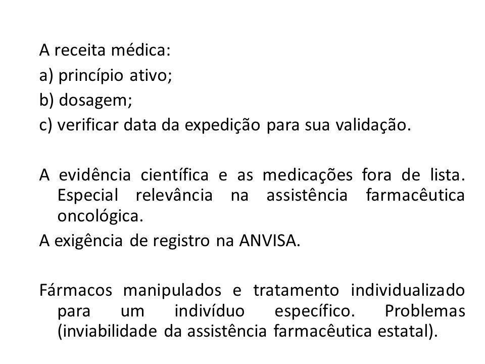 A receita médica: a) princípio ativo; b) dosagem; c) verificar data da expedição para sua validação.