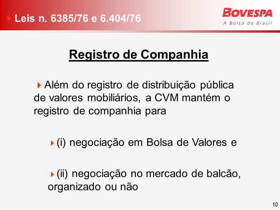 10 Registro de Companhia Além do registro de distribuição pública de valores mobiliários, a CVM mantém o registro de companhia para (i) negociação em Bolsa de Valores e (ii) negociação no mercado de balcão, organizado ou não Leis n.