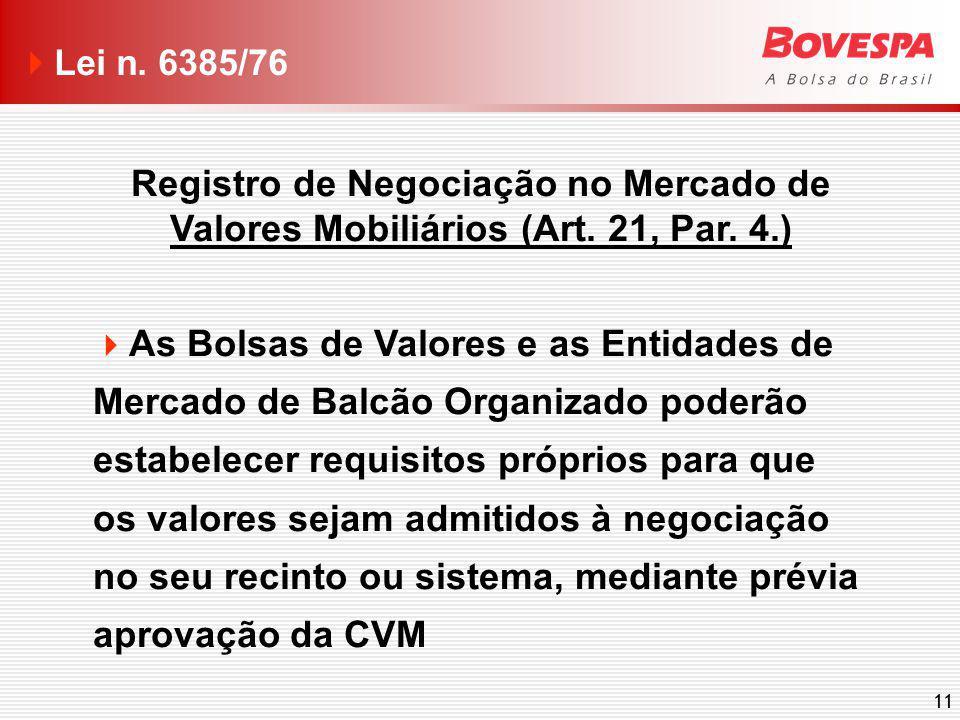 11 Registro de Negociação no Mercado de Valores Mobiliários (Art. 21, Par. 4.) As Bolsas de Valores e as Entidades de Mercado de Balcão Organizado pod