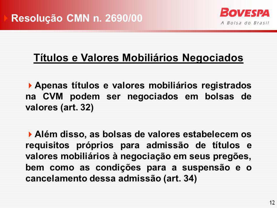 12 Títulos e Valores Mobiliários Negociados Apenas títulos e valores mobiliários registrados na CVM podem ser negociados em bolsas de valores (art. 32