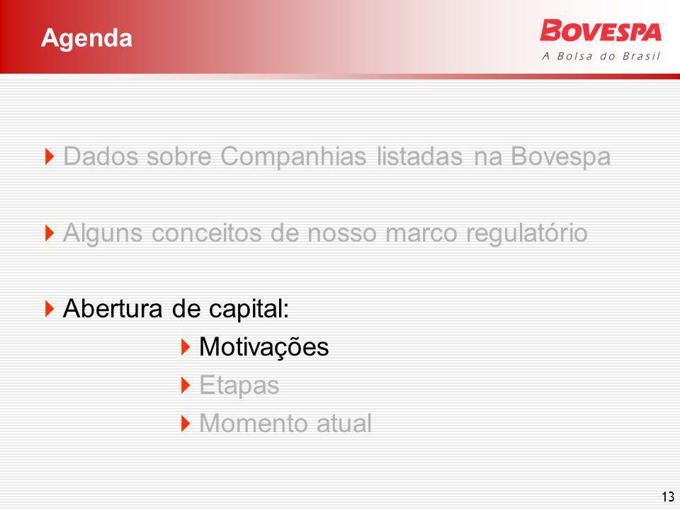 13 Dados sobre Companhias listadas na Bovespa Alguns conceitos de nosso marco regulatório Abertura de capital: Motivações Etapas Momento atual Agenda