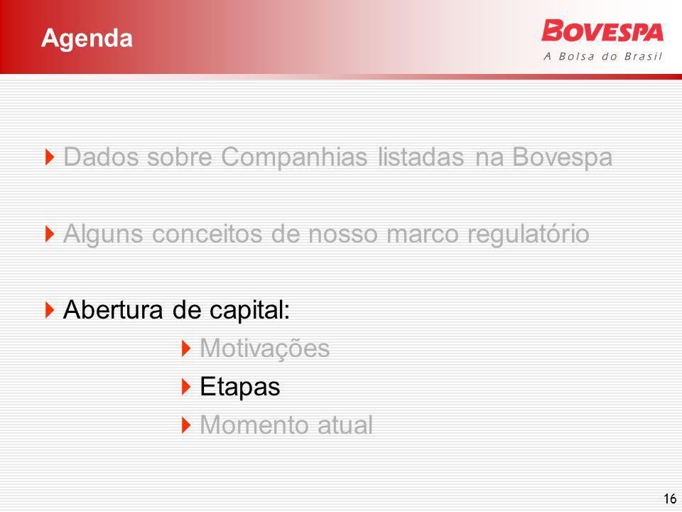 16 Dados sobre Companhias listadas na Bovespa Alguns conceitos de nosso marco regulatório Abertura de capital: Motivações Etapas Momento atual Agenda