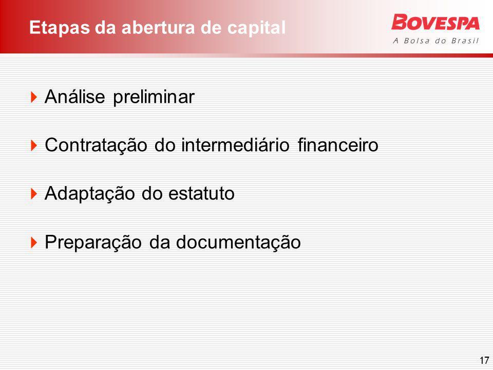 17 Etapas da abertura de capital Análise preliminar Contratação do intermediário financeiro Adaptação do estatuto Preparação da documentação