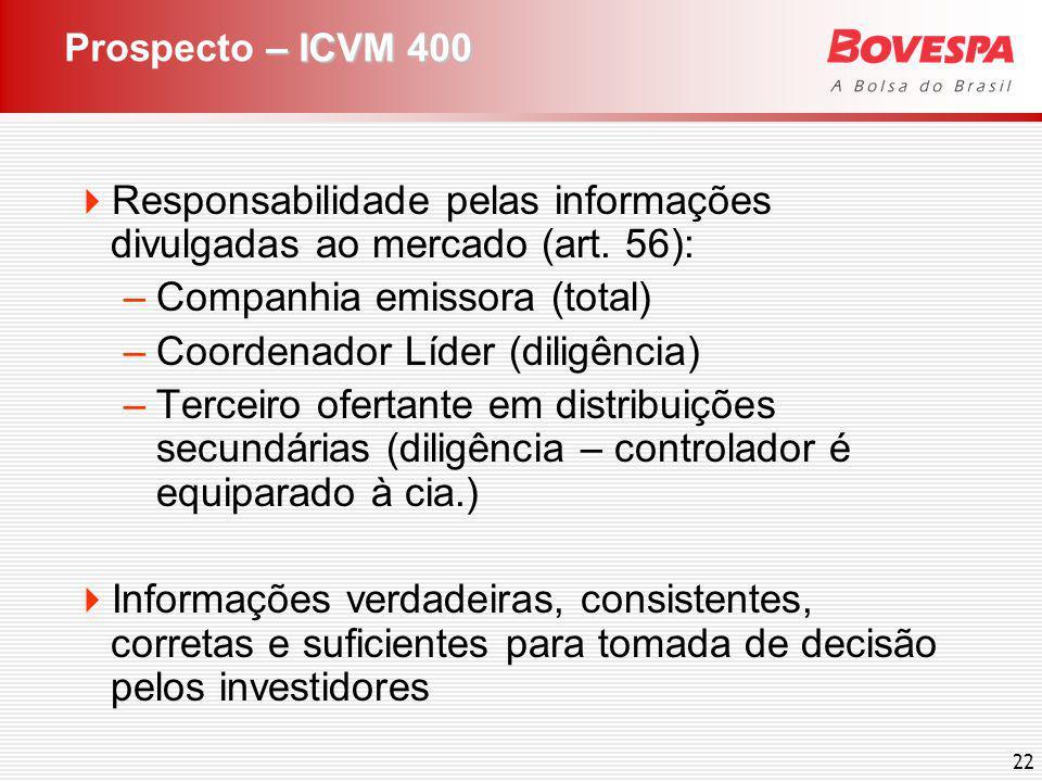 22 – ICVM 400 Prospecto – ICVM 400 Responsabilidade pelas informações divulgadas ao mercado (art. 56): –Companhia emissora (total) –Coordenador Líder