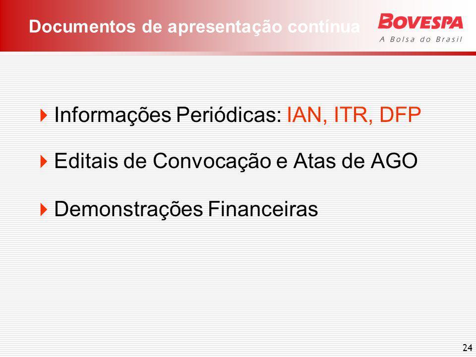 24 Informações Periódicas: IAN, ITR, DFP Editais de Convocação e Atas de AGO Demonstrações Financeiras Documentos de apresentação contínua