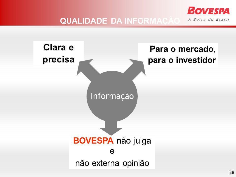 28 BOVESPA não julga e não externa opinião Clara e precisa Para o mercado, para o investidor QUALIDADE DA INFORMAÇÃO Informação