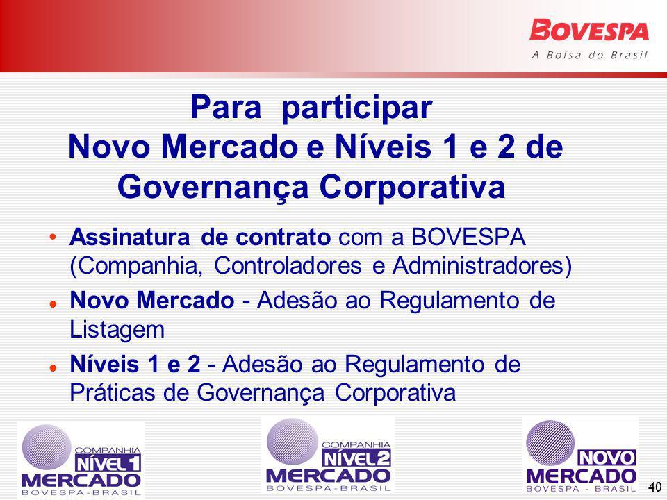 40 Para participar Novo Mercado e Níveis 1 e 2 de Governança Corporativa Assinatura de contrato com a BOVESPA (Companhia, Controladores e Administradores) Novo Mercado - Adesão ao Regulamento de Listagem Níveis 1 e 2 - Adesão ao Regulamento de Práticas de Governança Corporativa