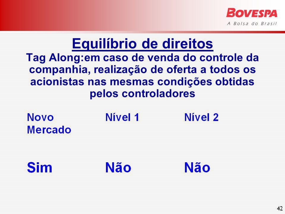 42 Equilíbrio de direitos Tag Along:em caso de venda do controle da companhia, realização de oferta a todos os acionistas nas mesmas condições obtidas pelos controladores