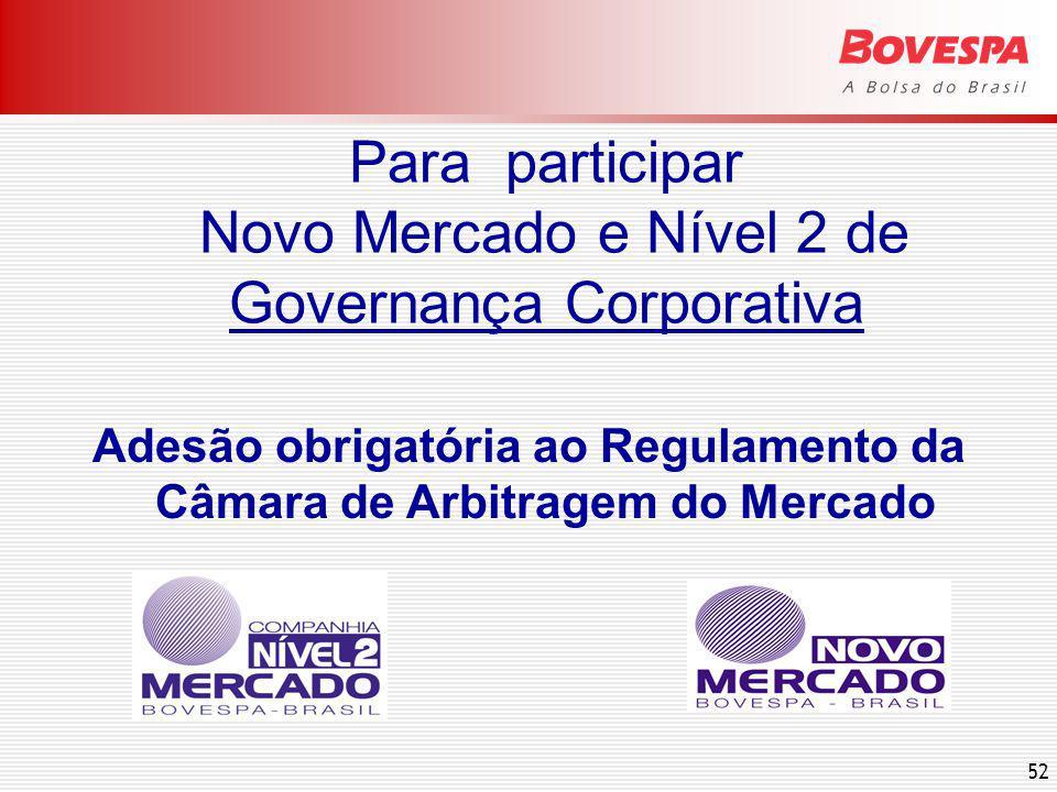 52 Para participar Novo Mercado e Nível 2 de Governança Corporativa Adesão obrigatória ao Regulamento da Câmara de Arbitragem do Mercado