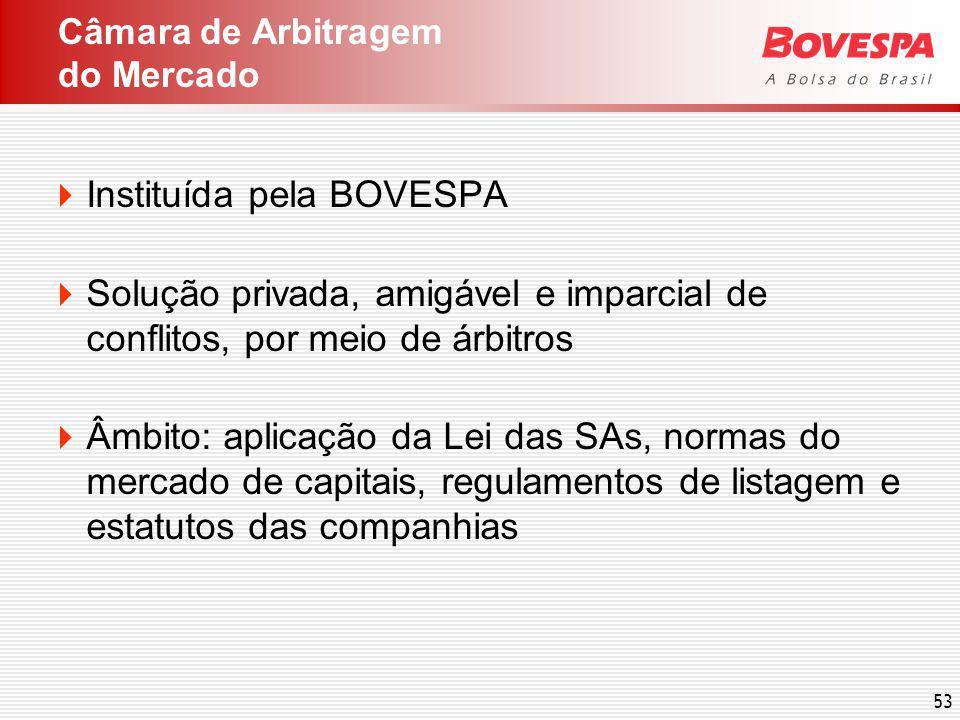 53 Instituída pela BOVESPA Solução privada, amigável e imparcial de conflitos, por meio de árbitros Âmbito: aplicação da Lei das SAs, normas do mercado de capitais, regulamentos de listagem e estatutos das companhias Câmara de Arbitragem do Mercado