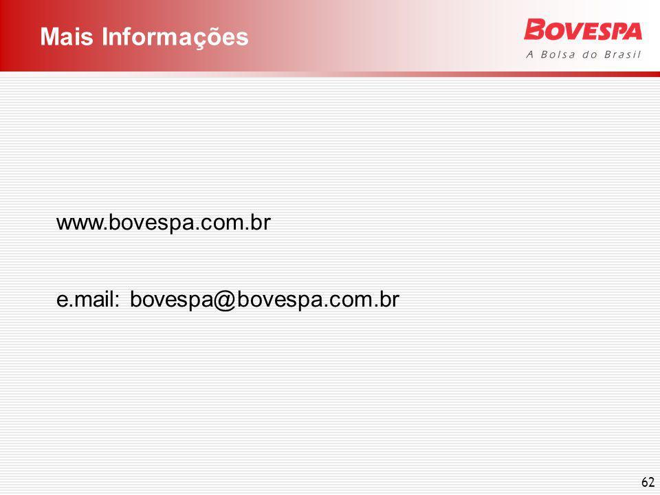 62 Mais Informações www.bovespa.com.br e.mail: bovespa@bovespa.com.br