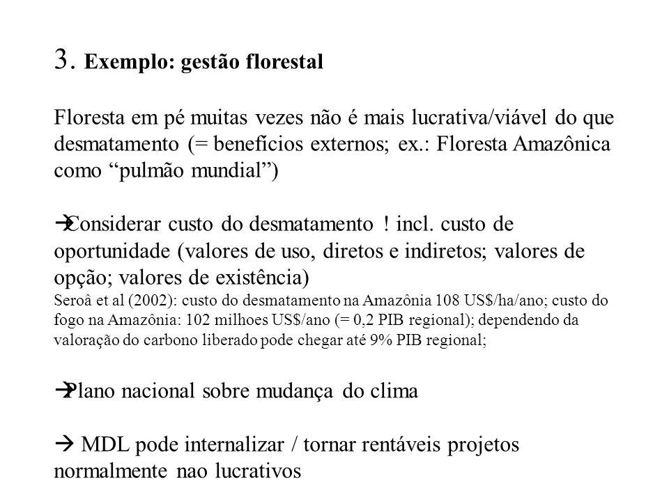 3. Exemplo: gestão florestal Floresta em pé muitas vezes não é mais lucrativa/viável do que desmatamento (= benefícios externos; ex.: Floresta Amazôni