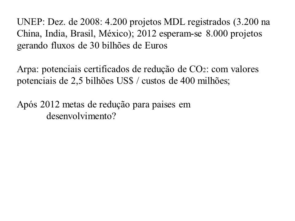 UNEP: Dez. de 2008: 4.200 projetos MDL registrados (3.200 na China, India, Brasil, México); 2012 esperam-se 8.000 projetos gerando fluxos de 30 bilhõe