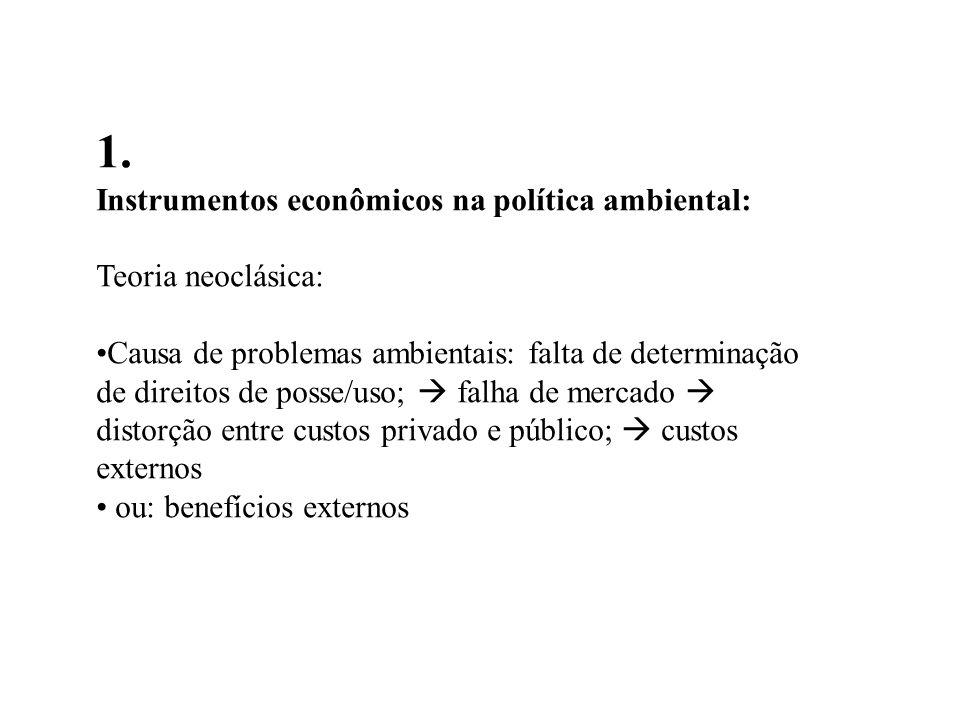 1. Instrumentos econômicos na política ambiental: Teoria neoclásica: Causa de problemas ambientais: falta de determinação de direitos de posse/uso; fa