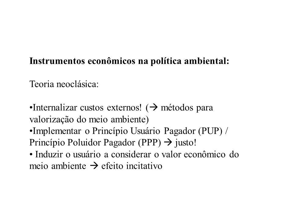 Instrumentos econômicos na política ambiental: Teoria neoclásica: Internalizar custos externos! ( métodos para valorização do meio ambiente) Implement