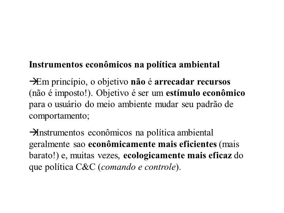 Instrumentos econômicos na política ambiental Em princípio, o objetivo não é arrecadar recursos (não é imposto!). Objetivo é ser um estímulo econômico