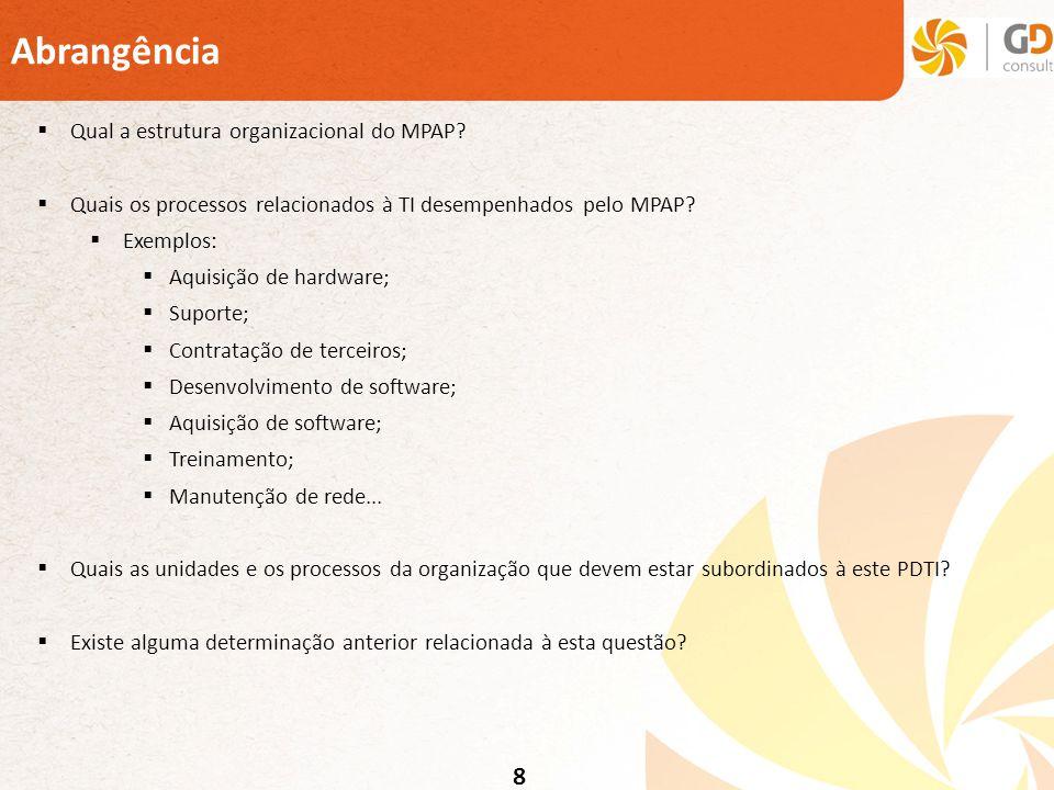 8 Abrangência Qual a estrutura organizacional do MPAP? Quais os processos relacionados à TI desempenhados pelo MPAP? Exemplos: Aquisição de hardware;