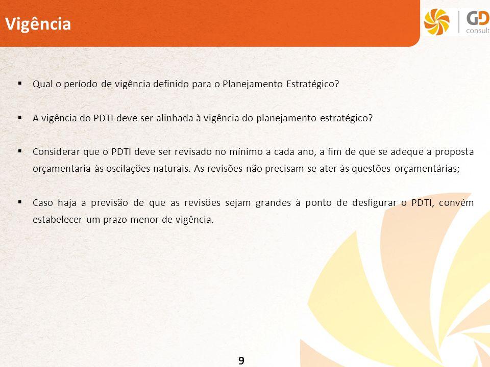 9 Vigência Qual o período de vigência definido para o Planejamento Estratégico? A vigência do PDTI deve ser alinhada à vigência do planejamento estrat