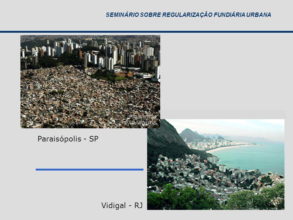 SEMINÁRIO SOBRE REGULARIZAÇÃO FUNDIÁRIA URBANA Vidigal - RJ Paraisópolis - SP