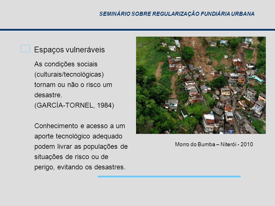 SEMINÁRIO SOBRE REGULARIZAÇÃO FUNDIÁRIA URBANA Espaços vulneráveis As condições sociais (culturais/tecnológicas) tornam ou não o risco um desastre. (G