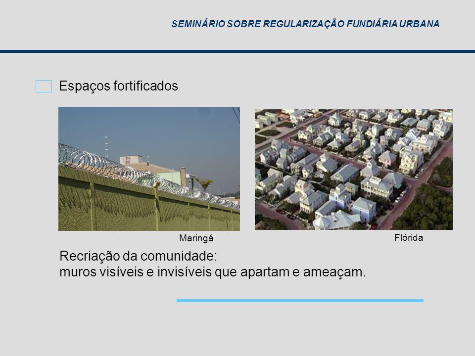 SEMINÁRIO SOBRE REGULARIZAÇÃO FUNDIÁRIA URBANA Recriação da comunidade: muros visíveis e invisíveis que apartam e ameaçam. Maringá Flórida Espaços for