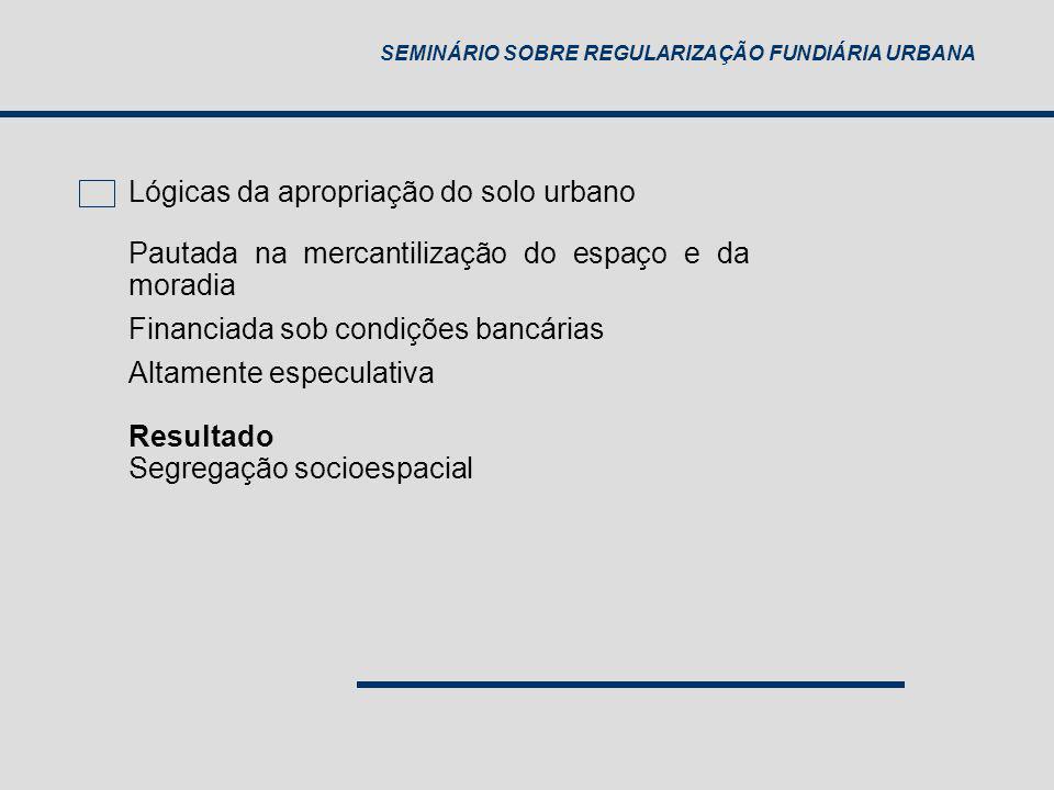SEMINÁRIO SOBRE REGULARIZAÇÃO FUNDIÁRIA URBANA Água canalizada por rede geral Esgotamento por rede ou fossa séptica Coleta direta ou indireta de lixo 100% 30% Adensamento excessivo Ônus excessivo de aluguel 5% 9 mil Assentamentos informais INDICADORES DE DIREITO À MORADIA ADEQUADA 1992 2007 FONTE: IBGE – PNAD (IPEA) N NE SE S CO BR (urb) cortiço sem teto favela irregulares