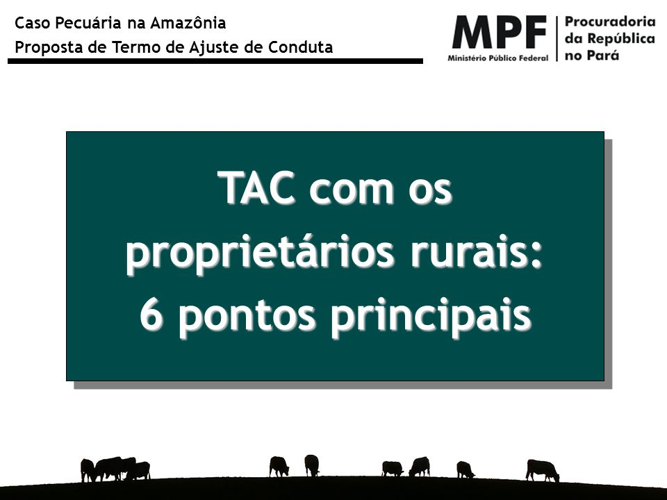 Caso Pecuária na Amazônia Proposta de Termo de Ajuste de Conduta TAC com os proprietários rurais: 6 pontos principais