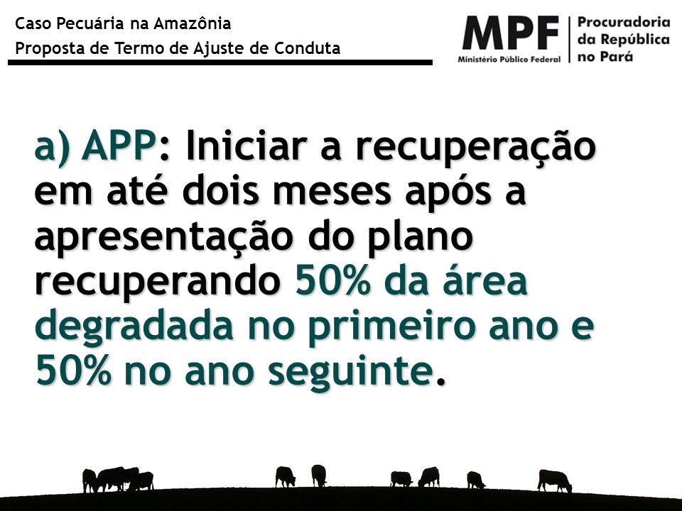 Caso Pecuária na Amazônia Proposta de Termo de Ajuste de Conduta a) APP: Iniciar a recuperação em até dois meses após a apresentação do plano recupera