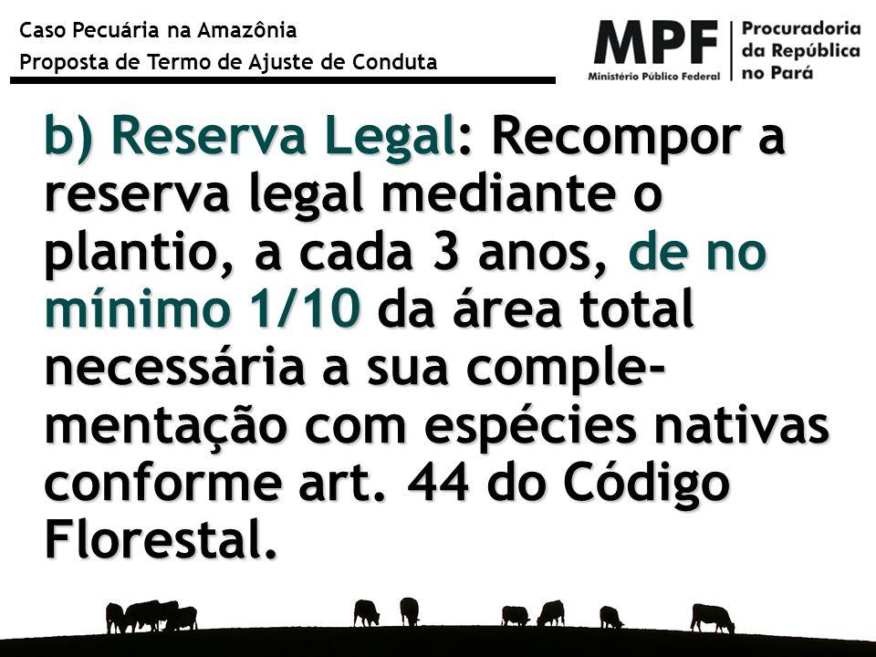 Caso Pecuária na Amazônia Proposta de Termo de Ajuste de Conduta b) Reserva Legal: Recompor a reserva legal mediante o plantio, a cada 3 anos, de no m
