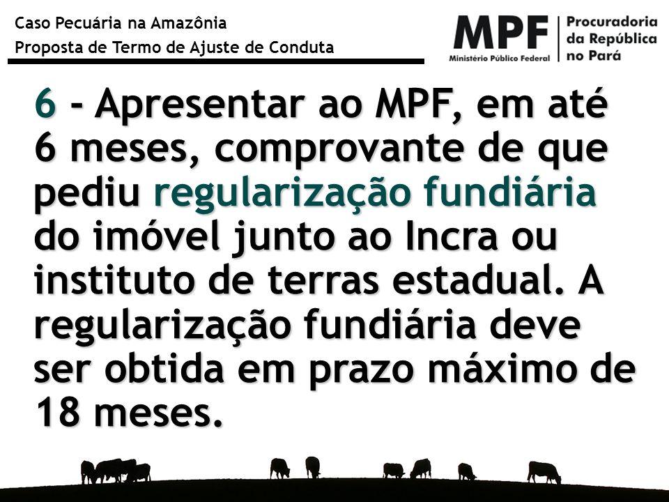 Caso Pecuária na Amazônia Proposta de Termo de Ajuste de Conduta 6 - Apresentar ao MPF, em até 6 meses, comprovante de que pediu regularização fundiár