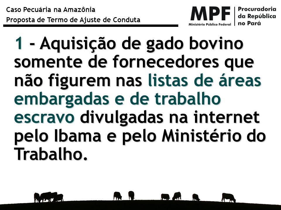 Caso Pecuária na Amazônia Proposta de Termo de Ajuste de Conduta 1 - Aquisição de gado bovino somente de fornecedores que não figurem nas listas de ár
