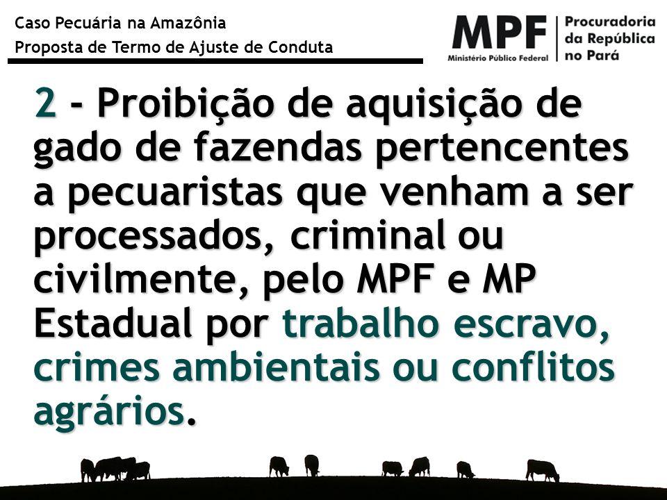 Caso Pecuária na Amazônia Proposta de Termo de Ajuste de Conduta 2 - Proibição de aquisição de gado de fazendas pertencentes a pecuaristas que venham