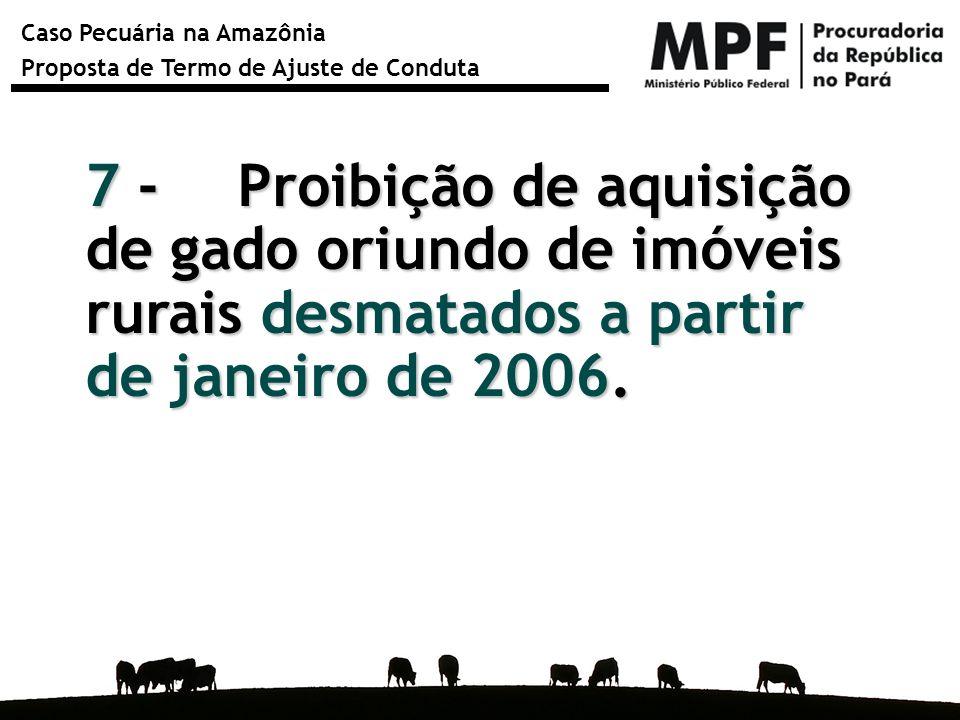 Caso Pecuária na Amazônia Proposta de Termo de Ajuste de Conduta 7 - Proibição de aquisição de gado oriundo de imóveis rurais desmatados a partir de j