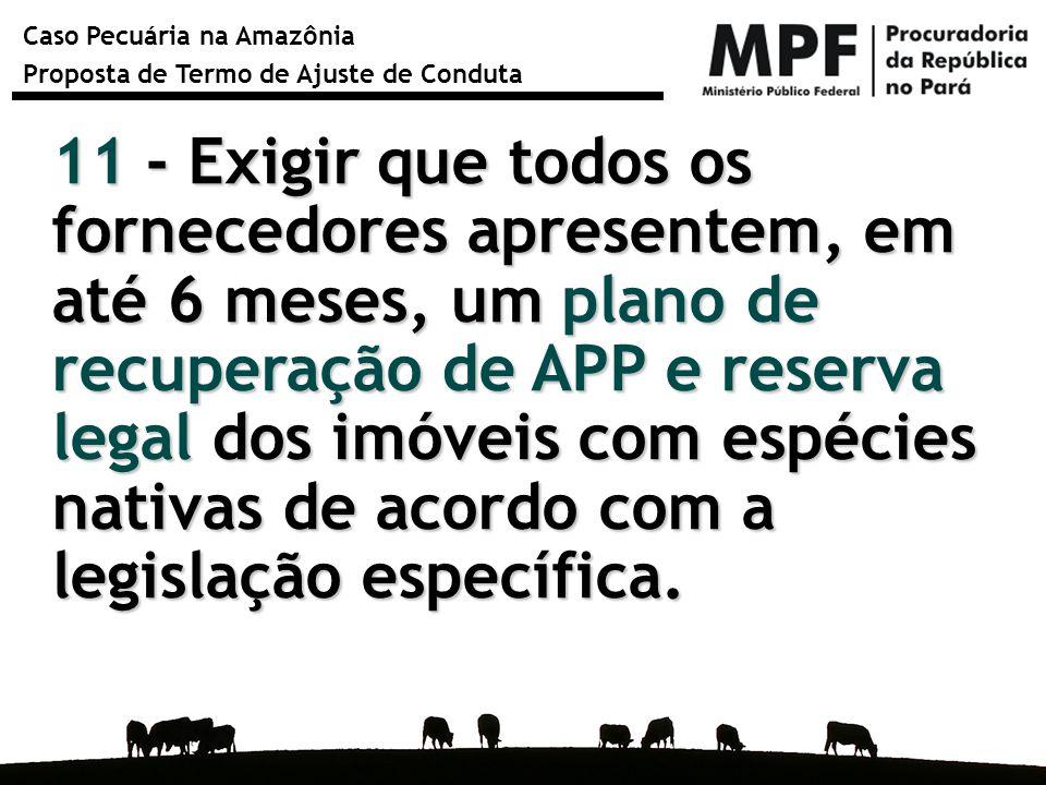Caso Pecuária na Amazônia Proposta de Termo de Ajuste de Conduta 11 - Exigir que todos os fornecedores apresentem, em até 6 meses, um plano de recuper