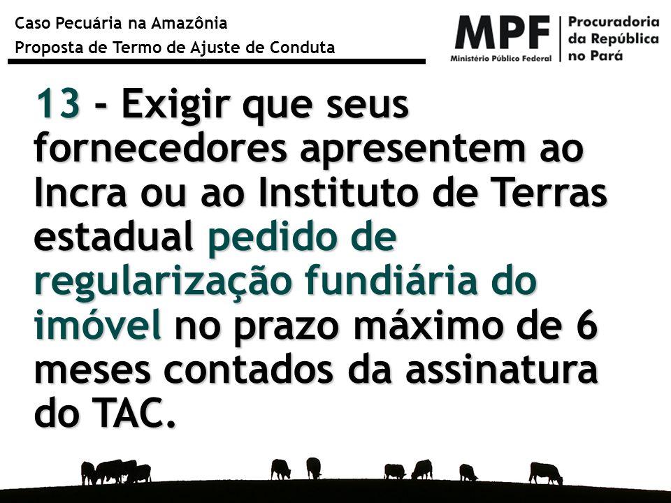 Caso Pecuária na Amazônia Proposta de Termo de Ajuste de Conduta 13 - Exigir que seus fornecedores apresentem ao Incra ou ao Instituto de Terras estad
