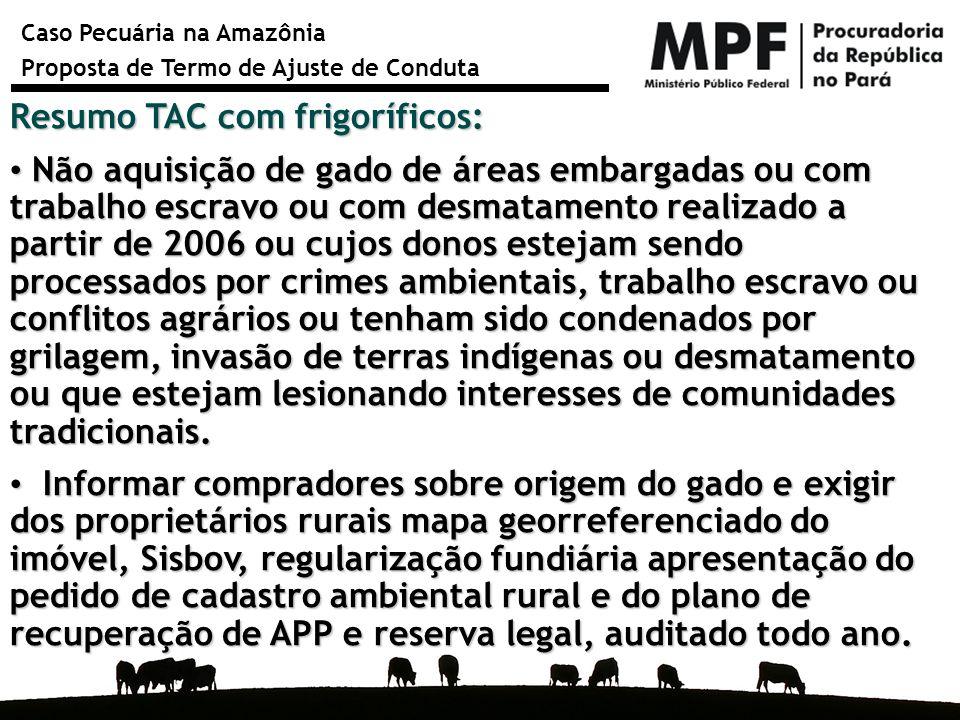 Caso Pecuária na Amazônia Proposta de Termo de Ajuste de Conduta Resumo TAC com frigoríficos: Não aquisição de gado de áreas embargadas ou com trabalh