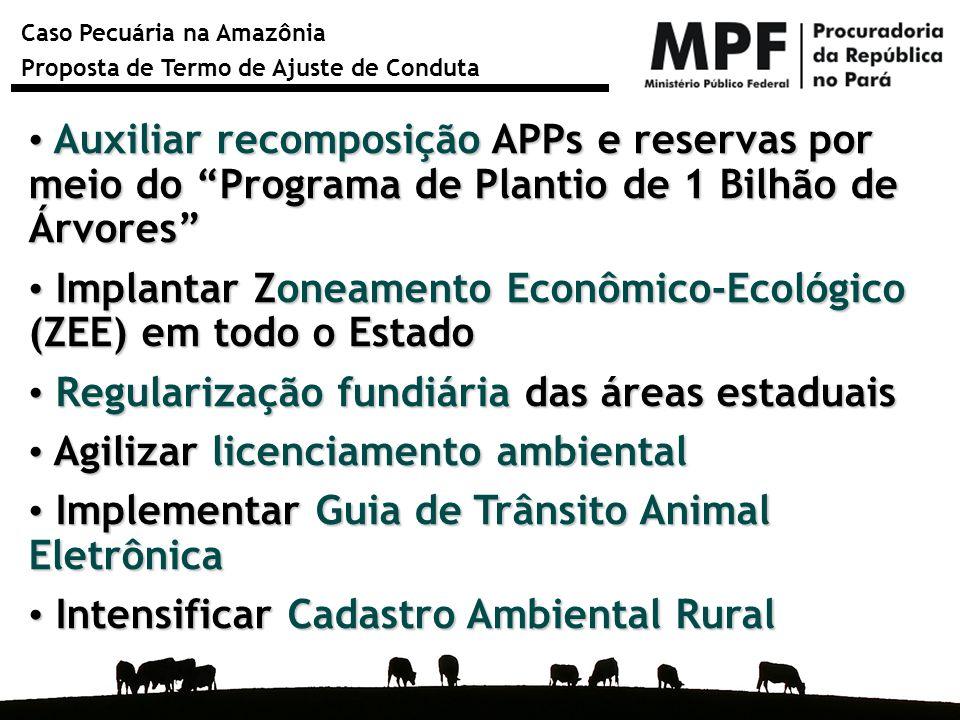 Caso Pecuária na Amazônia Proposta de Termo de Ajuste de Conduta Auxiliar recomposição APPs e reservas por meio do Programa de Plantio de 1 Bilhão de
