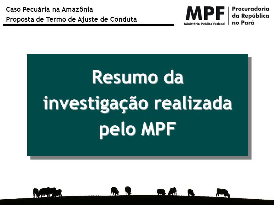 Caso Pecuária na Amazônia Proposta de Termo de Ajuste de Conduta Resumo da investigação realizada pelo MPF